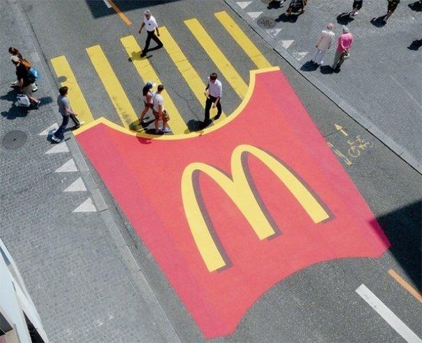 Unconventional Marketing delle patatine del McDonalds per le strade