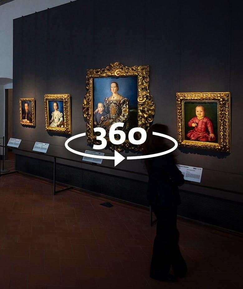 La figura mostra una delle esibizioni online offerte dalle Gallerie degli Uffizi a Venezia in Italia.