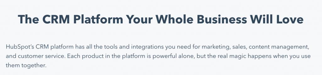 Esempio copy sito Hubspot