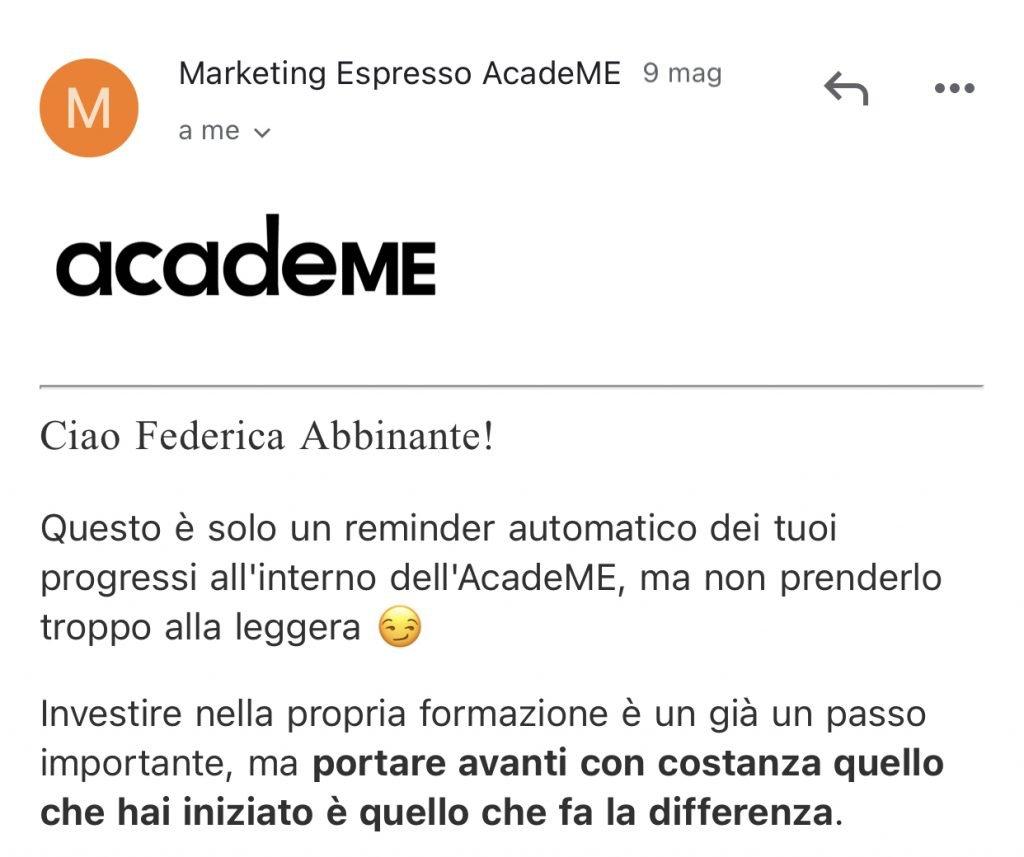 Esempio copy email Marketing Espresso