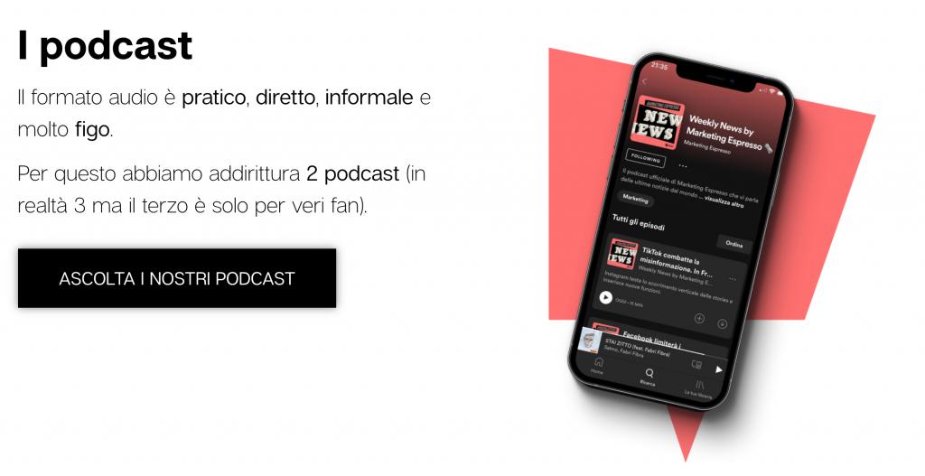 Esempio copy sito Marketing Espresso